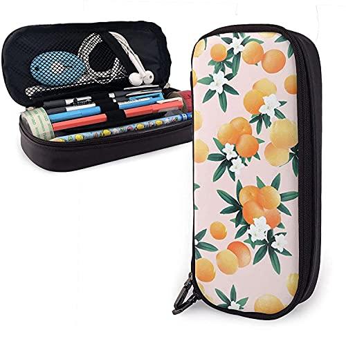 Estuche para lápices, resonancia de flores de color naranja con gran capacidad para bolígrafo, bolsa para papelería, organizador de escritorio con cremallera para suministros escolares y de oficina