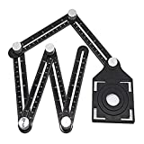 Six-Sided Aluminum Alloy Angle Measuring Tool, Angle Ruler Template Template Tool Full Metal Measuring Rules Layout Tool for Handymen Builders DIY Carpenters Craftsmen