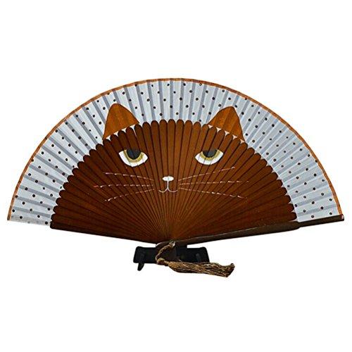 SUPVOX De dibujos animados lindo gato plegable de seda de bambú abanico...
