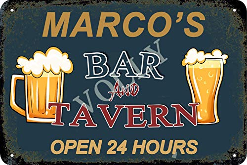 No/Brand Marco'S Bar And Tavern Open 24 Hours Tin Sign Metal Poster Warning Sign Retro Iron Sheet Plaque Vintage Poster For Bedroom Family Wall Aluminum Art Decor Garage Door