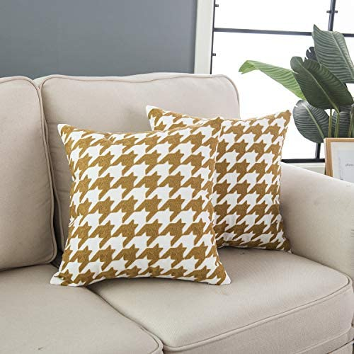Taisier Home Yellow Brown and White Throw Pillow Cushion Cover Traditional Scottish Houndstooth product image