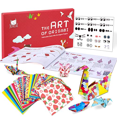JoyCat Buntes Origami Papier mit,90 Blatt doppelseitiges Origami-Papier, DIY Kunst bastelpapier,30 Origami Projects Bastelanleitung für Einsteiger - Bastelstunden Schulen Training