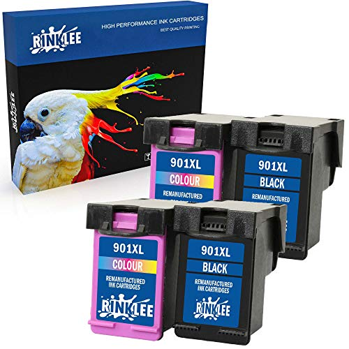 RINKLEE Wiederaufbereitete Tintenpatrone für HP 901 901XL kompatibel mit HP OfficeJet 4500 J4500 J4524 J4535 J4540 J4550 J4580 J4624 J4660 J4680 J4680c G510a G510g G510n   2 Schwarz, 2 Farbig