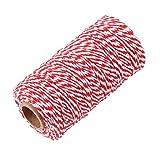 約100m ロープ ラッピング ひも ギフトコード 工芸品 文字列 装飾 DIY 多色選べ - 赤