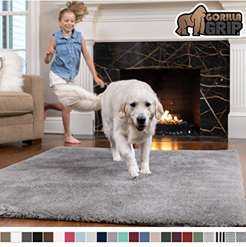 Gorilla Grip Original Faux-Chinchilla Rug, 3x5 Feet, Super Soft and Cozy High Pile Washable Carpet, Modern Rugs for Floor, Luxury Shag Carpets for Home, Bed and Living Room, Dark Gray