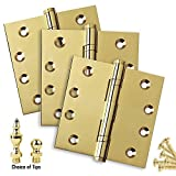 "3 pack- 4"" x 4"" Solid Brass Ball Bearing Hinges (3 Hinges + choice of Ball/Urn/Flat tips included), Heavy Duty Architectural Grade, Polished Brass Finish (US3), Stainless Steel Pin"