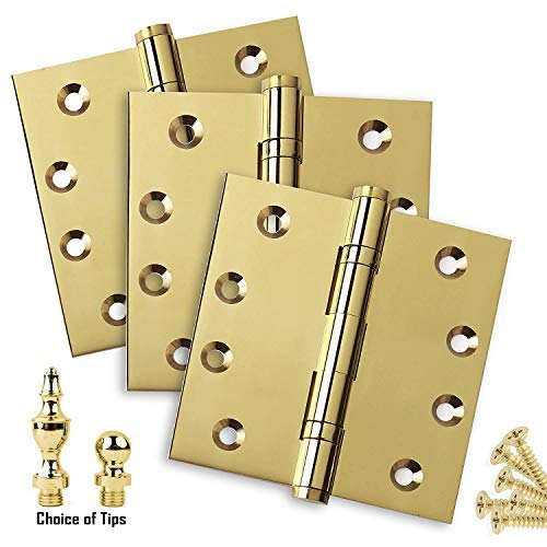 Door Hinges 4 x 4 Extruded Solid Brass Ball Bearing Polished Brass Architectural Grade Tips Included (2 Packs, Ball & Urn Tips)