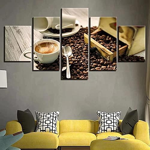 WWNMJ Cuadros Decoracion Salon Modernos 5 Piezas de Lienzo,5 lienzos Decorativos Salon Grandes XXL Grano de la Taza de café Cuadros Decoracion Salon Modernos con Marco 150X80 Cm