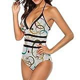 Mesllings Damen Einteiler Badeanzug bunt Kreise Hintergrund abstrakt Fashion Schlankheits Bademode hohl Badeanzug Gr. 52, Mehrfarbig