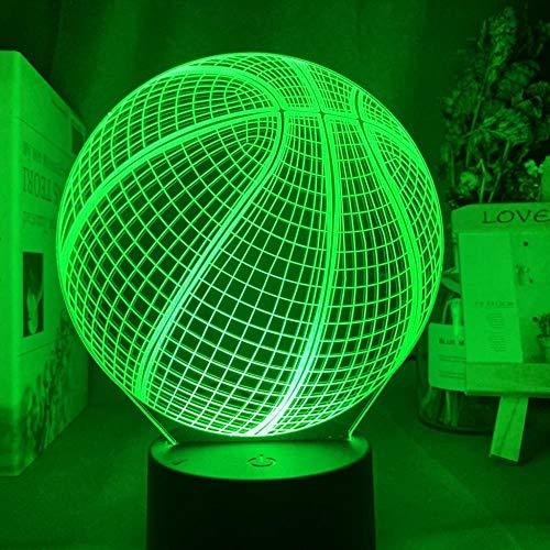 ASQWZX - Lámpara de noche 3D, diseño de pelota de baloncesto, holograma de acrílico 3D para decoración de habitaciones, regalo para estudiantes, dormitorio, tabla de LED