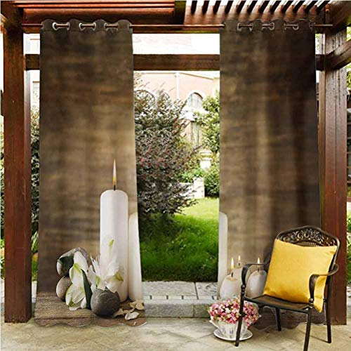 Spa Shade Screen Pergola | Cabana |Backyard| Garden| Wedding Composition of Pure Candles Wooden Background with Stones and Flower Petals Print Brown and White 100' W by 84' L(K254cm x G213cm)