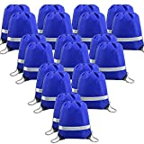20 Pieces Blue-Drawstring-Backpack-Bags Bulk Reflective Gym Sack Pack Sports Cinch Bag...