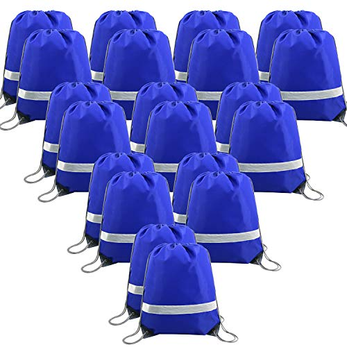 20 Pieces Blue-Drawstring-Backpack-Bags Bulk Reflective Gym Sack Pack Sports Cinch Bag