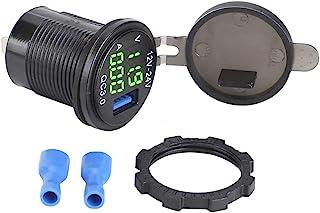 Billaddare för bil, 3-i-1 bil 3.0 USB-laddare med digital voltmätare övervakare Snabb laddning för telefon(grön)