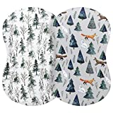 Pobi Baby - 2 Pack Premium Bassinet Sheets for Standard Bassinets - Ultra-Soft Cotton Blend, Stylish Animal Woodland Pattern, Safe and Snug for Baby (Magical)