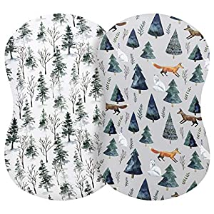 Pobi Baby – 2 Pack Premium Bassinet Sheets for Standard Bassinets – Ultra-Soft Cotton Blend, Stylish Animal Woodland Pattern, Safe and Snug for Baby (Magical)