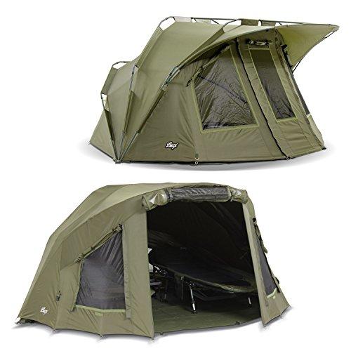 Lucx® Lion Angelzelt + Überwurf Bivvy + Winterskin 1 bis 2 Mann Karpfenzelt inkl. Overwrap Carp Dome Tent + Skin 1 bis 2 Personen Zelt