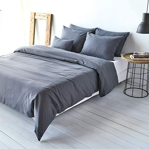 Traumschlaf Uni Baumwolle-Leinen Bettwäsche Titan, 1 Bettbezug 135 x 200 cm + 1 Kissenbezug 80 x 80 cm