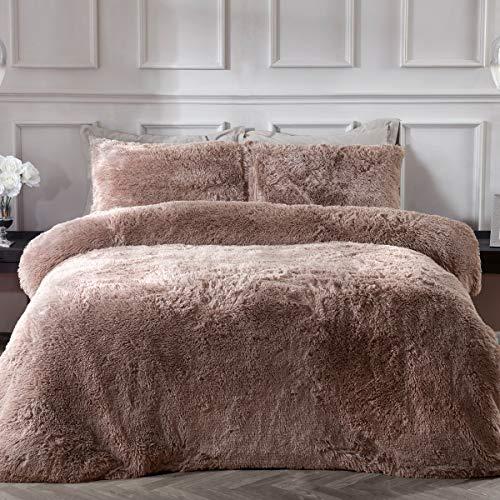 Sleepdown lyxig lång hög fuskpäls mink supermjuk lättskött täcke täcke täcke sängkläder set med örngott – enkel (135 cm x 200 cm), polyester