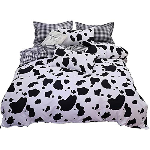 WINLIFE Cow Print Comforter Cover Queen, 3-Pieces Black White Milk Cow Printed Duvet Cover Sets for...