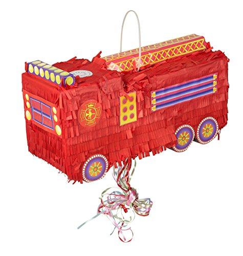 Idena PNT0068 10039799 - Pinata Feuerwehrauto, Größe circa 56 x 18 x 22 cm, zum Befüllen, Pullpinata, Partyspiel