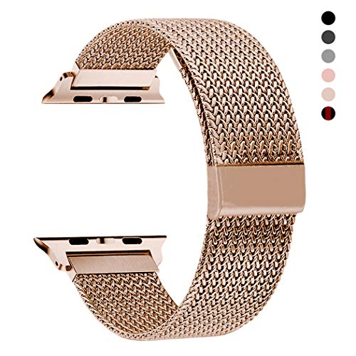 RXCOO Compatible for Apple Watch Band 38mm/40mm 42mm/44mm, Stainless Steel Mesh Wristband Loop Magnet Band Compatible with Iwatch Series 5/4/3/2/1 (Rose Gold, 42mm/44mm)
