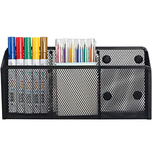 Magnetic Pencil Holder - 3 Generous Compartments Extra Strong Magnets Mesh Marker Holder Perfect for Whiteboard Refrigerator and Locker Accessories