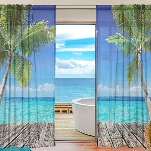 Sheer Voile Fenster Vorhang Tropische Palme Meer Bedrucktes Weiches Material Für Schlafzimmer Wohnzimmer Küche Decor Home Tür Dekoration 2 Felder 198,1 X 139,7 cm