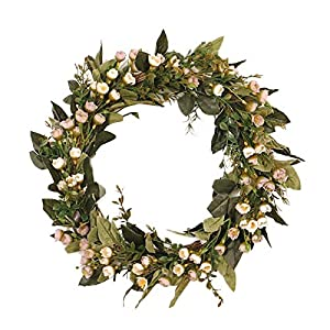 Silk Flower Arrangements Fragrant Snowball Flowers Wreath, Simulation Artificial, Spring Summer Greenery Wreath for Front Door and Party Decorations, Farmhouse Decor, Housewarming Gift