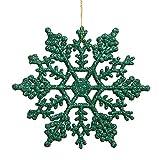 Vickerman Glitter Snowflake Christmas Ornaments with 12 per PVC Box, 8', Green