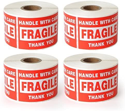 4 Rolls 2000 Labels Fragile 2 x3 Handle with Care Shipping Stickers 500 Labels Per Roll product image