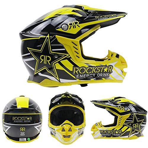 LTongx Casque de Moto et Casque de Motocross pour Adulte MX (M, L, XL, XXL),M(55~56cm)