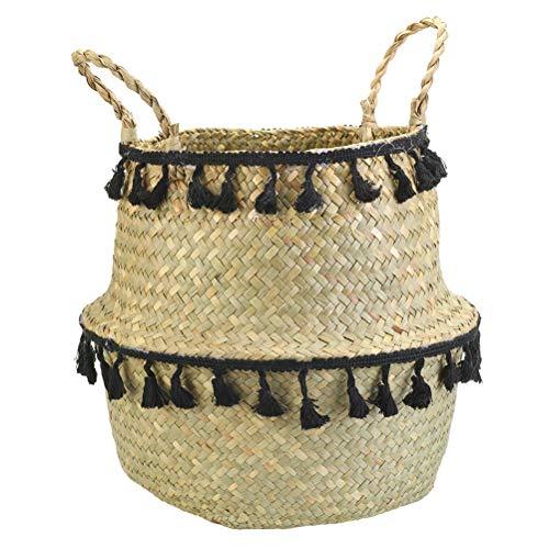 DFSDG Porcellanea di stoccaggio di bambù Fatti a Mano Seagrass Cestino di Vimini Giardino Vaso di Fiori Lavanderia Cestino portacontainer (Color : Style 1, Size : Medium)