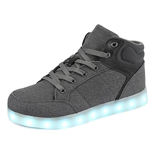 Dannto led Zapatillas Luces Niños Deportivos Shoes Recargables Luz Zapatos Flashing High Top Zapatillas con USB(Gris,37)