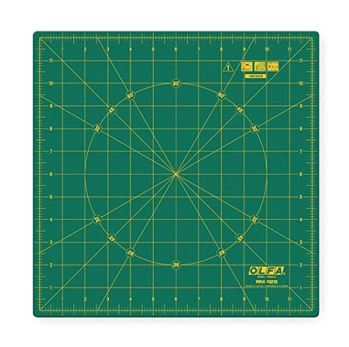 """OLFA 12"""" x 12"""" Square, Self Healing Rotating Rotary Cutting Mat, Green with Yellow Lines"""