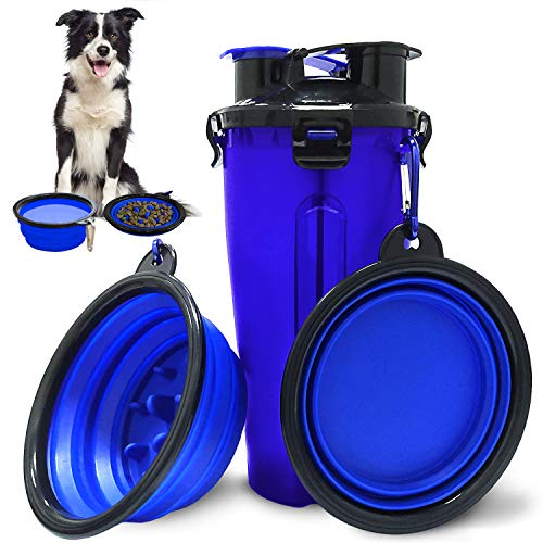 Autoau Dog Food Water Bowl Travel Pet Food Water Container Portable Dog Water Dispenser and 2-in-1 Pet Water Food Container with 2 Collapsible Dog Bowls for Walking HikingTravelling Camping(Blue)