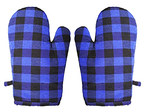 GLUN Pair of Extra Padded Unique Check Pattern Oven Gloves Heat Resistant, Protection of Hands from Hot Utensils, Grill, Barbecue (Blue Checkered Oven Gloves)