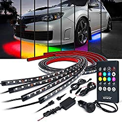 top rated Xprite Car Underglow Neon Accent Light Kit, 8 Color Sound Active Function and Wireless 2021