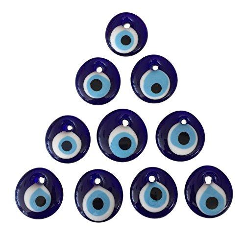 Juego de 10 colgantes de pared de estilo turco nazar con agujero para el mal de ojo, color azul