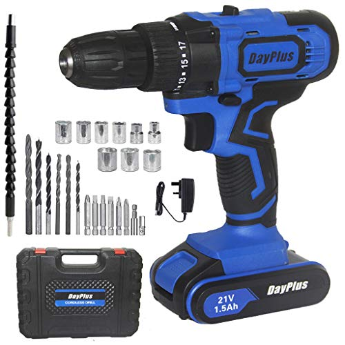 Powerful Cordless Drill Set & Screwdriver w/ Battery, 21V 45N.m Impact Power Tool, Fast Charger, 18 + 1 Torque Setting w Quick-Release Drill Chuck, 2-Speed, LED Work Light