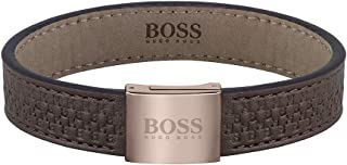 HUGO BOSS MEN'S STAINLESS STEEL & BROWN LEATHER & BROWN STITCHING BRACELETS -1580058M Medium