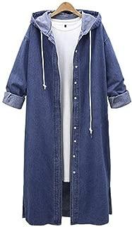 Aniywn Women Long Denim Coat Casual Button Down Jean Jacket Long Sleeve Hooded Outwear Overcoat