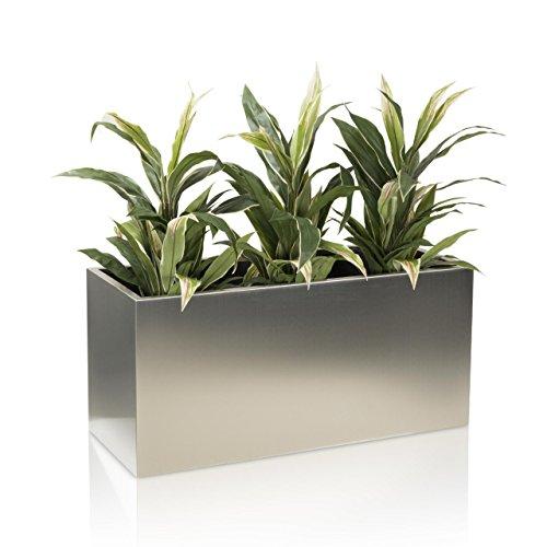 Pflanztrog Blumentrog VISIO 50 Edelstahl gebürstet, 100x40x50 cm - Farbe: Edelstahl - robuster, stabiler Pflanztopf, wetterfest & frostbeständig, geeignet für Innen -und Außenbereiche