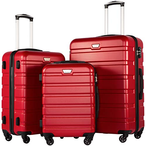 COOLIFE Suitcase Trolley Carry On Hand Cabin Luggage Hard Shell Travel Bag Lightweight 2 Year Warranty Durable 4 Spinner Wheels (Red, 3 Pcs Set)
