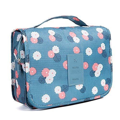 Toilettas multifunctionele cosmetische tas draagbare make-up zak waterdichte reizen opknoping organisator tas voor vrouwen meisjes, blauwe bloemen