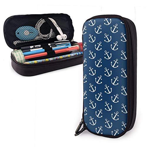 Patrón de anclas azul marino Estuche multifunción de cuero de PU con cierre de cremallera, estuche de transporte para útiles escolares, material de oficina