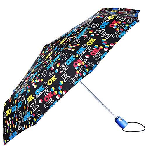 BOLERO - Paraguas de lluvia mini plegable cortavientos de alta calidad - Apertura y cierre automático OPEN-CLOSE - Tejido Pongee 190T - Portátil y de bolsillo