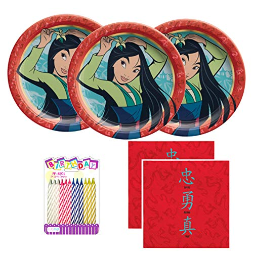 Mulan Party Supplies Pack Serves 16: Dessert Plates and Luncheon Napkins with Birthday Candles (Bundle for 16)
