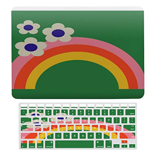 MacBook New Pro 13 Inch Case A1706, A198, A2159, Plastic Hard Shell Case & Keyboard Cover Compatible with MacBook New Pro 13 Inch, Retro Rainbow Laptop Protective Shell Set
