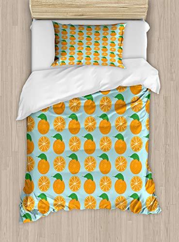ABAKUHAUS Oranje Dekbedovertrekset, Vitamine C Half gesneden fruit, Decoratieve 2-delige Bedset met 1 siersloop, 130 cm x 200 cm, Pale Blue en Oranje